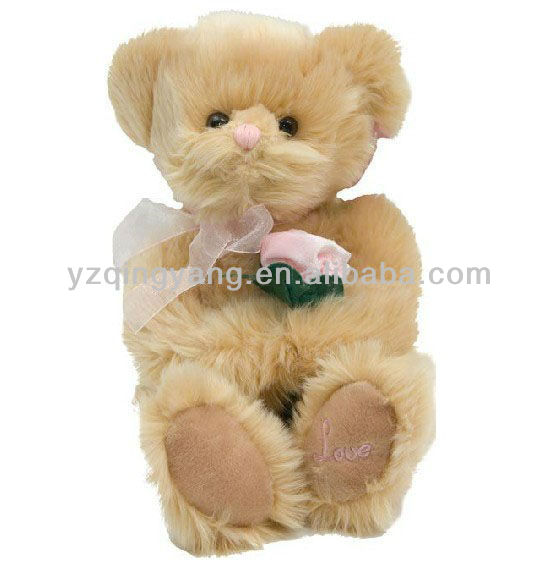 brown bear teddy bear plush toy with flowers