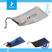 custom printed microfiber glasses pouch with drawstring