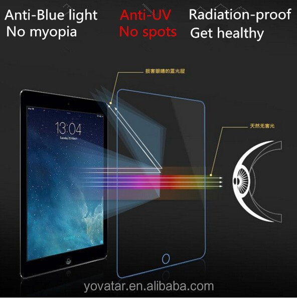 HD 9H 0.33mm thin Tempered Glass screen protector for ipad 2/3/4,anti blue light tempered glass film
