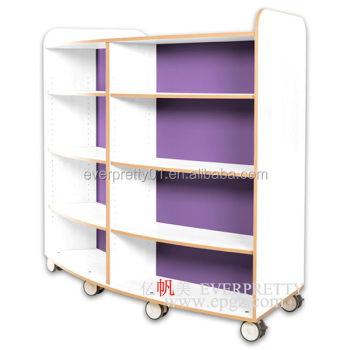 Wood Children Library Furniture Double Side Mobile Bookshelf