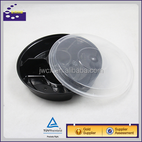 Round black 4 compartment disposable food tray plate container with lid