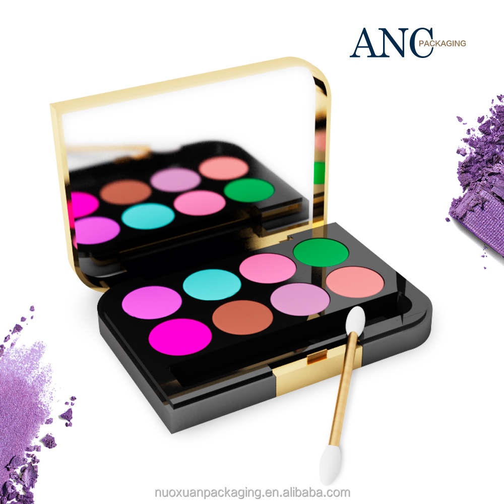 ANC star product Lid electroplate gold Case injection color craft eyeshadow palette private label low price manufecturer in CN