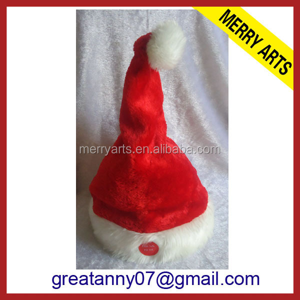 futian market yiwu wholesale hot new electronic red plush musical dancing christmas santa hat for sale