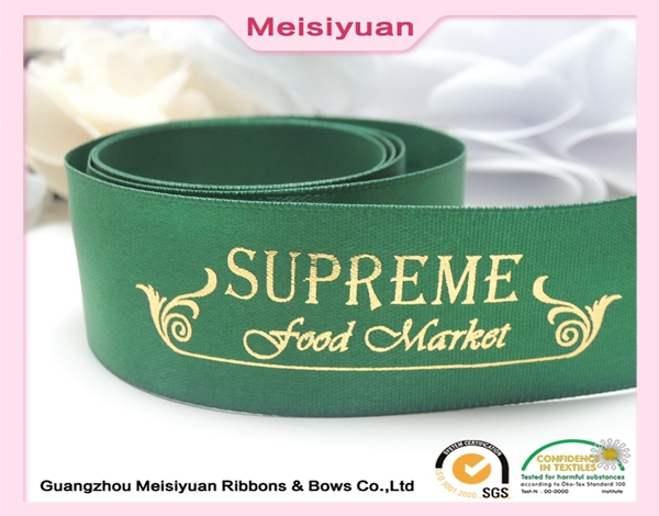 Custom dogs printed ribbon printed ribbon with gold plated logo gold foil printed ribbon