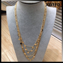 2017 gold vintage America multi layer long chain pendant necklace with metal plate