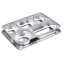 4 5 Compartment Stainless Steel Fast Food Tray Serving <strong>Plate</strong> with lock lid