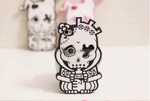New 3D Style Skull Pink Silicone Soft Cell Phone Case Back Cover For iPhone 4 4S