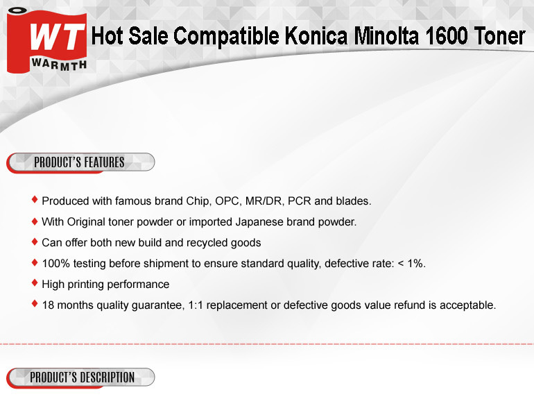 Factory Suppiler for New Compatible Konica Minolta 1600/1650/1680/1690 Toner