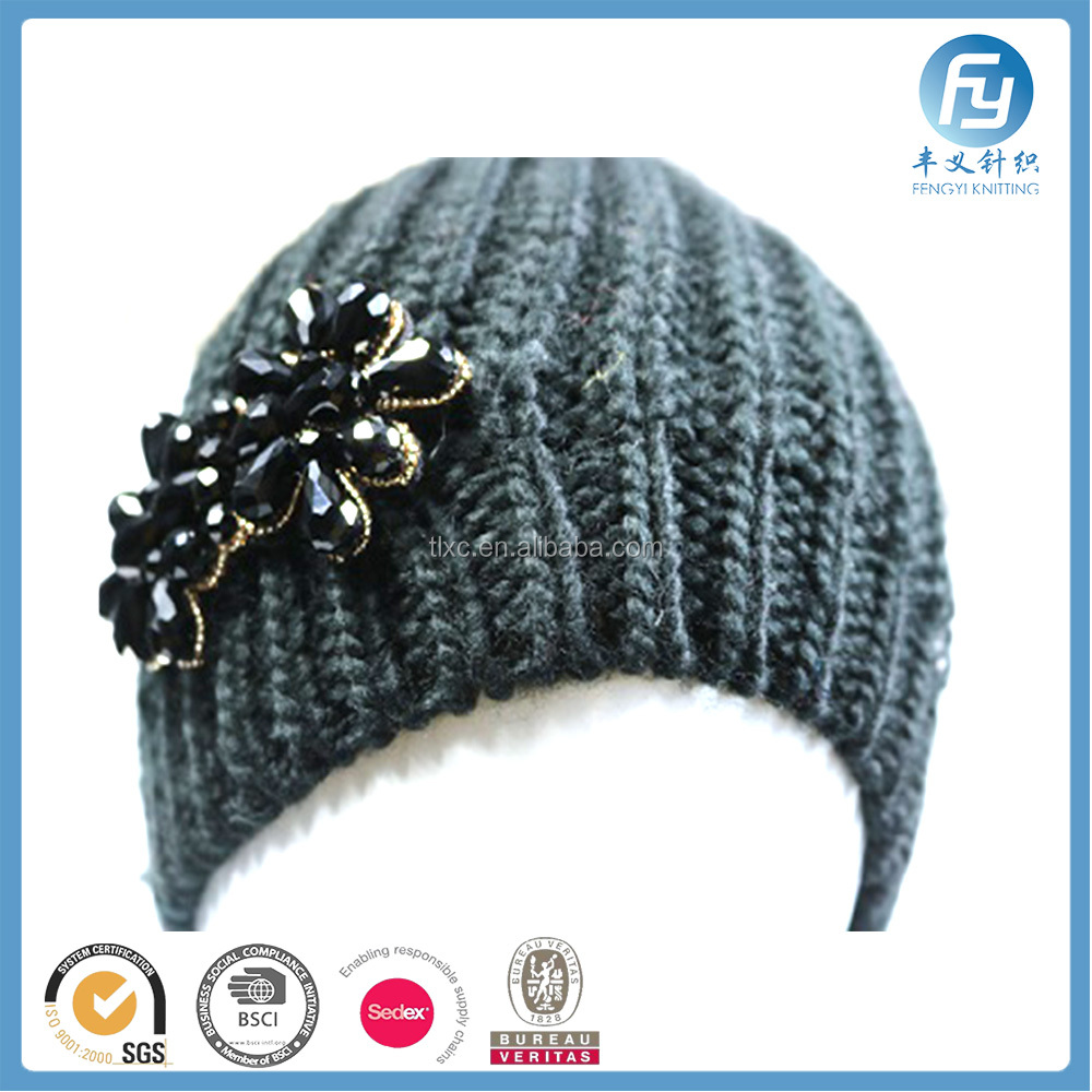 knitted jacquard winter hat with diamond decoration
