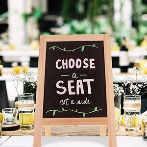 Wooden decorative tabletop A-frame double-sided kitchen chalkboard, black letter board