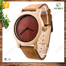 Eco-friendly handmade real wood leather watch unisex watches for men and women