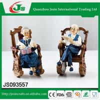 Set of 2 resin old couple figurine sitting at chair decoration, for home