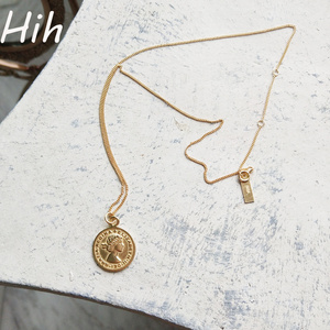 925 sterling silver jewelry coin pendant gold coin necklace for girls