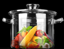 Hand blown heat resistant glass cook pot,clear glass Soup pot