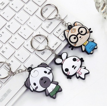 Fashion cartoon animal shape design pvc keychain for bussiness promotional gifts