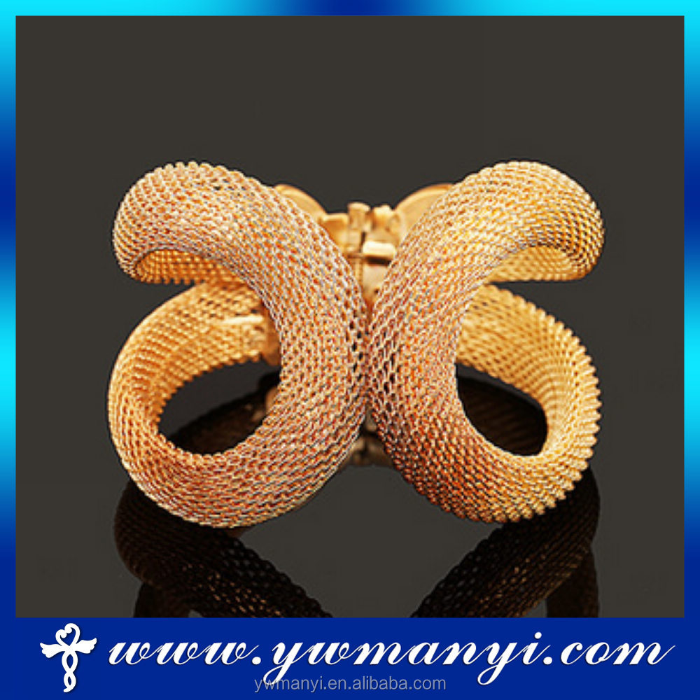 New design open shape plated gold iron wire bangle for women B-081810