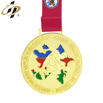 Custom enamel own design metal gold judo sports medal