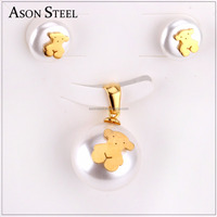 Custom pearl stud earrings bridal wedding bear pendant sets imitation jewelry for women's