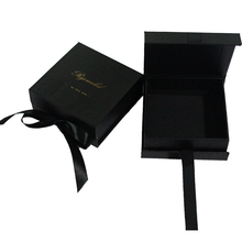 black hair extension box packaging cardboard with ribbon closure