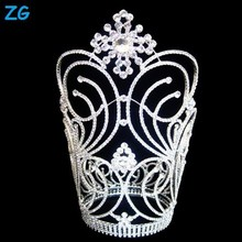 Fashion crystal flower large pageant crowns, customized crowns large wedding tiara, wholesale pageant crowns and tiaras