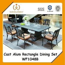 WF1048B antique wrought cast aluminum dining set rectangle table and chairs