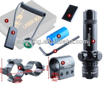 Tactical Hunting Adjustable Green Laser DOT Scope Laser Sight for Pistol W/ Riflescope Mounts