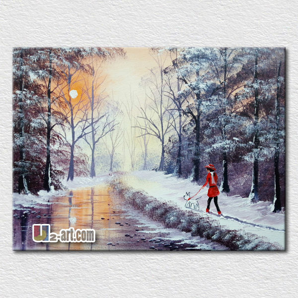 <strong>Decoration</strong> wall hangings snow landscape oil painting for kids room