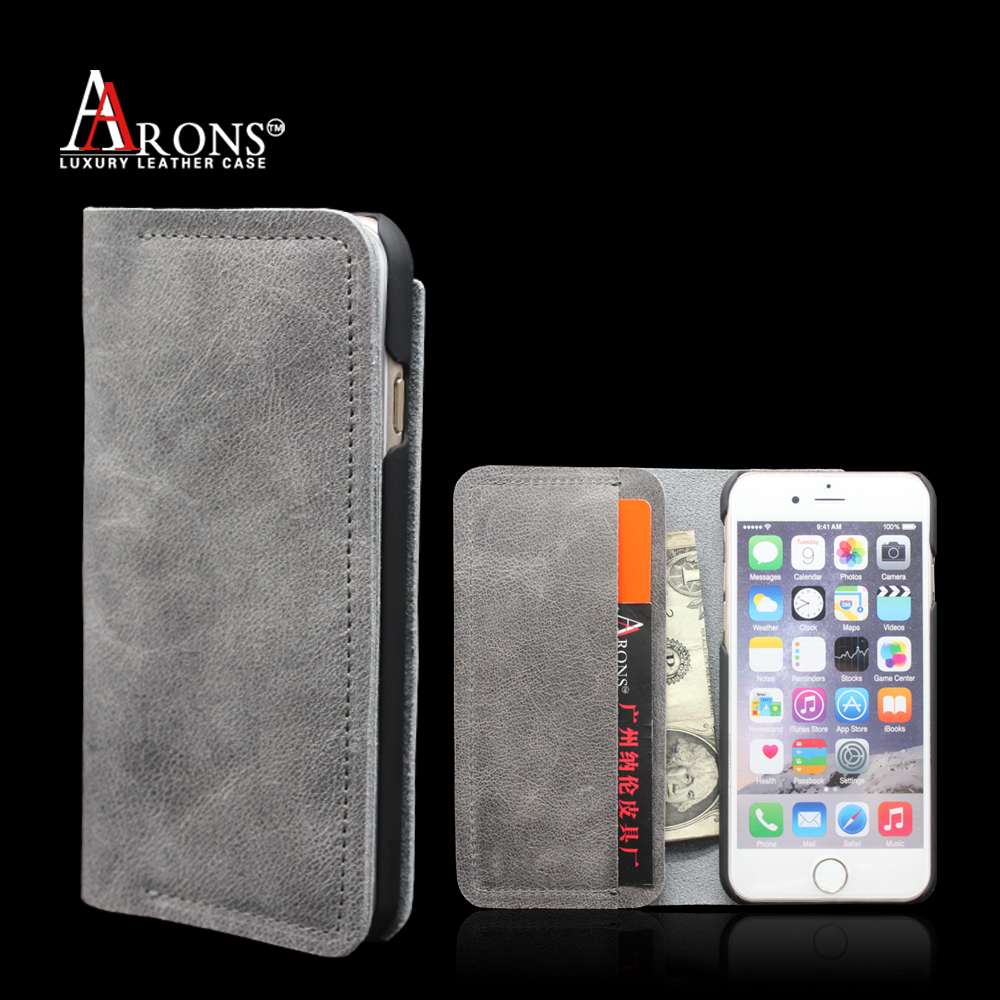 New design phone wallet for iphone 6s genuine leather case