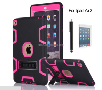 Hard duty hybrid rubber impact stand case for iPad Air 2 iPad 6 back skin