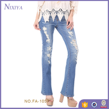 2018 Cuted skiny ladies fancy blue jeans