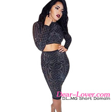 Latest Design Black Studded Long Sleeve Two Piece Frock Suits for Women
