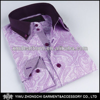 wholesale mens purple paisley printed shirt