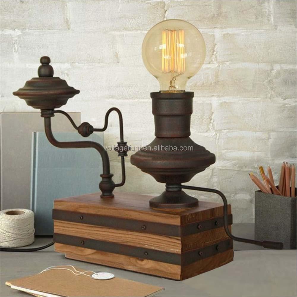 Vintage Retro Metal Decoration Desk Lamp Edison Light Bulb Wooden Base Table  Lamp   Buy Wood Carving Table Lamp,Fancy Table Lamp,Bedside Edison Table  Lamp ...