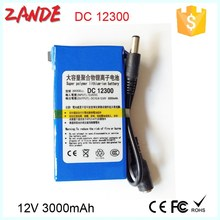 Super DC 12V Lithium-ion Battery with power supply EU/US charger for LED Strips,CCTV Camera with CE/MSDS