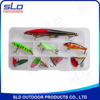 hard fishing lure assortment set with plastic tackle box