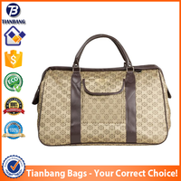 Fashion Jacquard Fabric And Pu Travelling Hands Duffel Bags