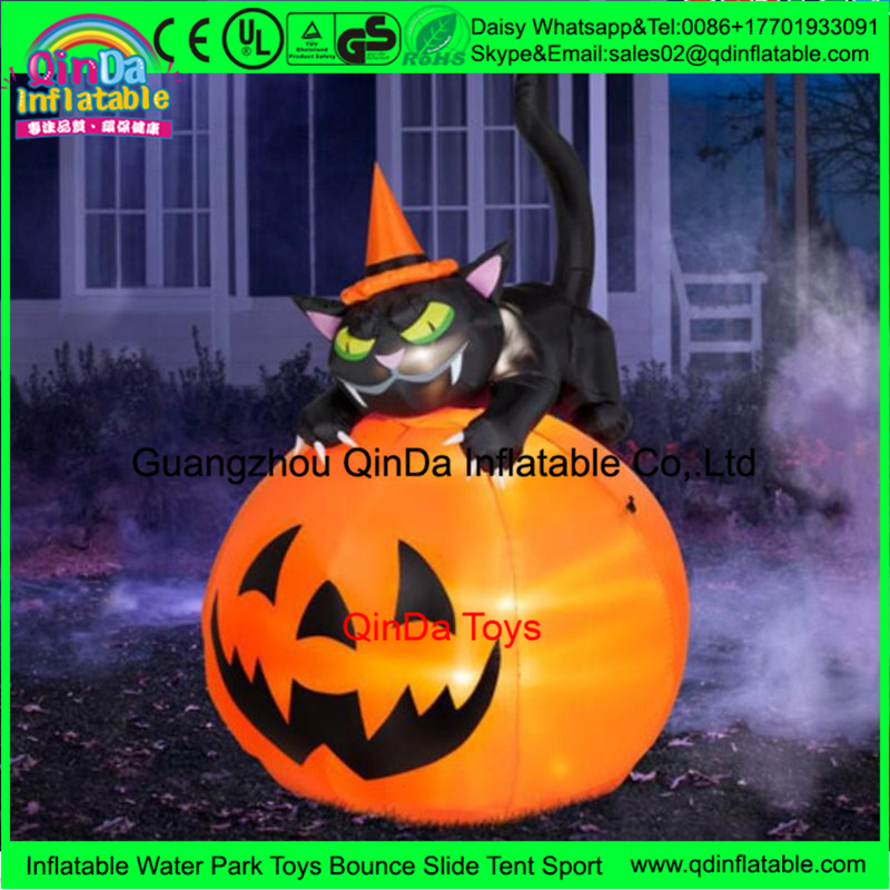 Advertising large plastic halloween pumpkin,pvc Air Blown Pumpkin with Hat made in china