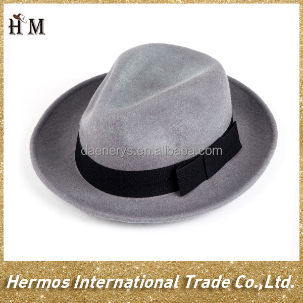 Autumn/winter grey 100% wool hat felt fedora hta