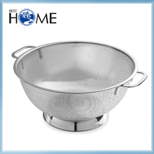 Good Kitchen Accessory Micro-perforated 5 Quart Mesh Stainless Steel Colander with Solid Ring Base and Handle