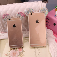 For Samsung Galaxy S6 Edge S7 S7Edge Note 3/4/5 Rhinestone Clear Cover 3D Diamond Glitter Mickey Mouse Ears Capa TPU Phone Cases