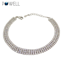 Manufacture wholesale in stock ladies 3mm AAA cubic zirconia tennis 925 sterling silver bracelet