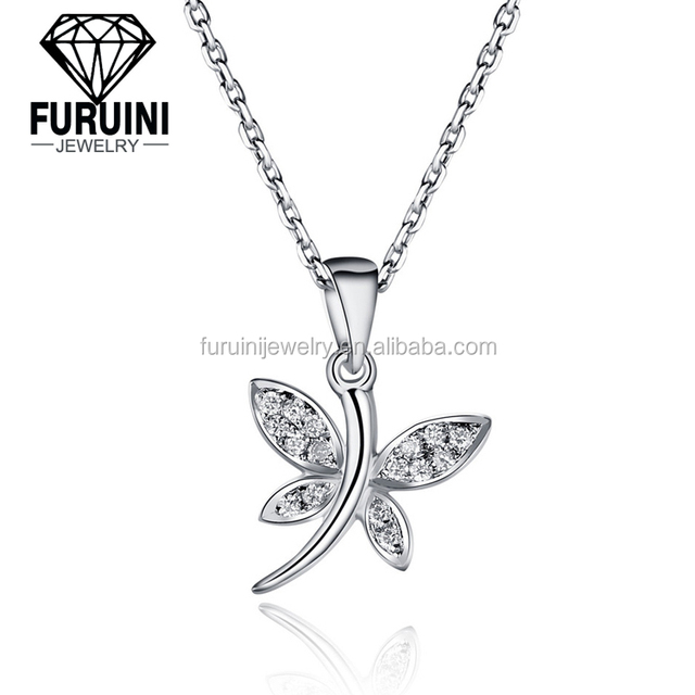 Hot selling dragonfly shaped pendant with necklace for girls ,925 sterling silver pendant necklace