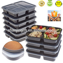 3 compartment 36oz plastic food storage meal prep containers microwave bento lunch boxes with airtight lid portion control