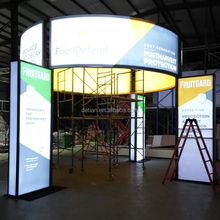 Detian offer custom island exhibition booth design portable 20x20 expo stand for FoodDefend company