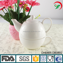 Teapot and cup in one Custom Design Ceramic White Porcelain Teapot and Cup