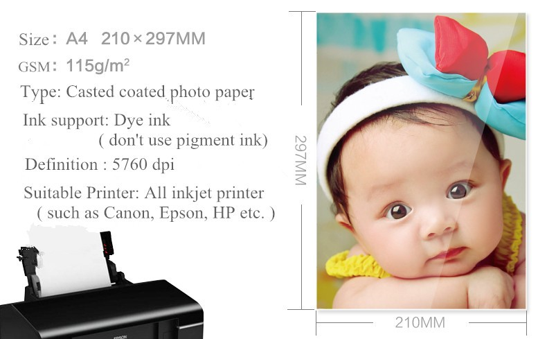 115g cast coated high glossy inkjet matte photo paper