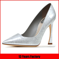 Popular customized size new design best quality silver color high heel elegant dress shoes footwears for women wholesale