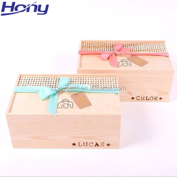 Healthy Wood Food Boxes Sliding Top Custom Burned Logo Wholesale