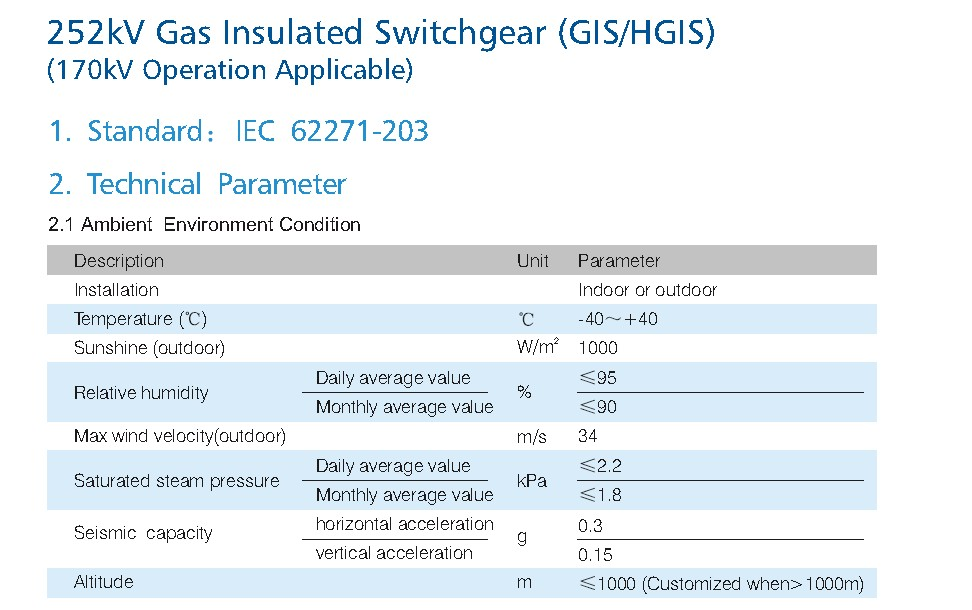 Intelligent Gas 252kV Gas Insulated Switchgear(GIS) sf6 switchgear