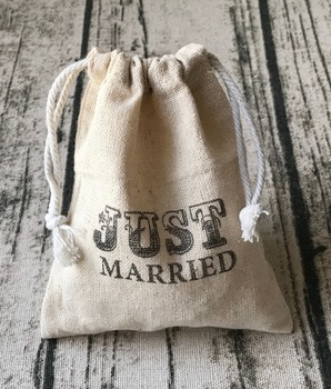 Natural linen wedding favor party drawstring gift bag